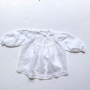 Vintage semi sheer lace collar top looks 12-18m